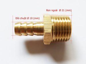 Nối đồng ren ngoài 21mm đuôi chuột 10mm